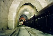 "Railroad in the A tunnel of the ""Zement"" site"