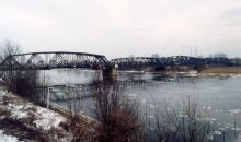 Railway bridge across the Oder near Küstrin which was destroyed by suicide bomber pilots in April 1945